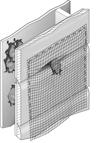 A one-way door allows bats to exit a structure, but prevents them from reentering. Hang a sheet of construction grade plastic, screen-door material, or lightweight polypropylene netting (1/2 inch mesh) over the exit. Use staples or duct tape to attach the material to the building. The one-way door should extend 18 to 24 inches below the bottom edge of the opening. Leave the material loose enough to flop back after each bat exits.
