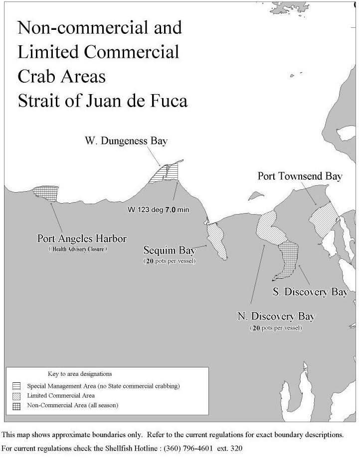 Non-commercial and Limited Commercial Crab Areas Strait of Juan de Fuca