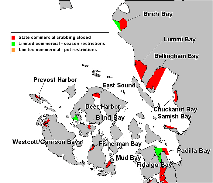 Map of Non-commercial and Limited Commercial Crab Areas in North Puget Sound/San Juan Islands