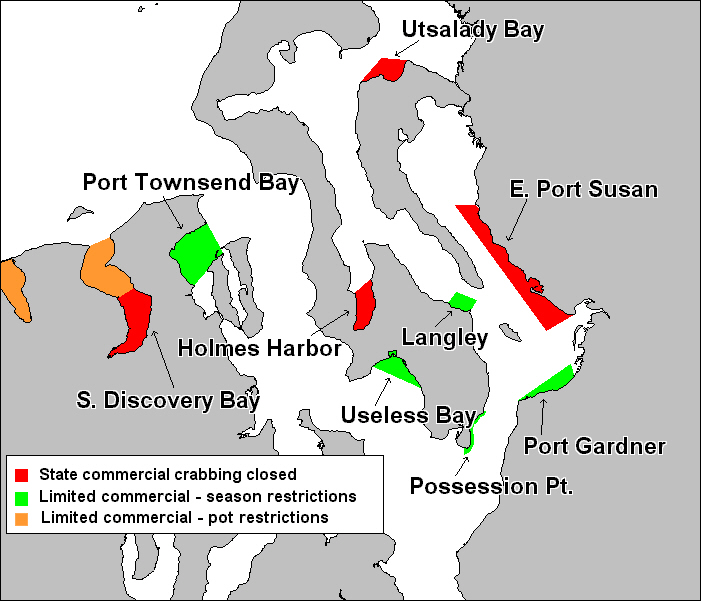 Map of Non-commercial and Limited Commercial Crab Areas in Central Puget Sound