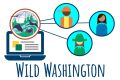 Wild Washington graphic with students, teacher, and computer