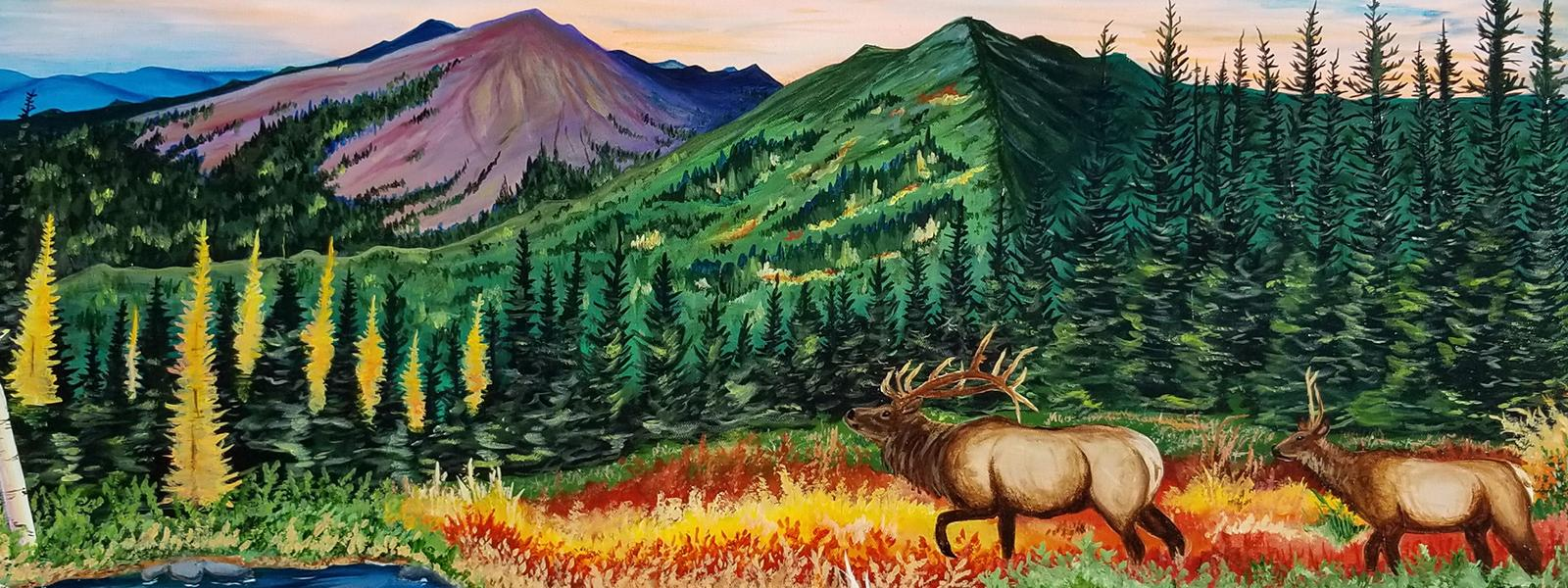 Winning illustration of elk walking towards a lake with mountains in the background