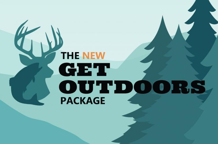 Image of a buck and trees with the words 'the new get ourdoors package'