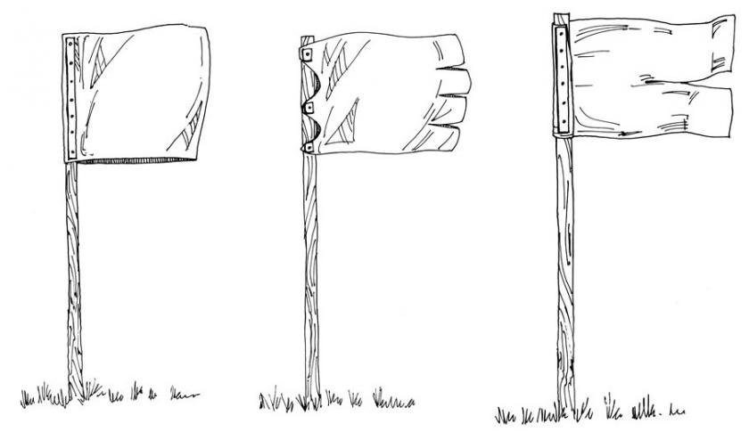Drawing showing three different types of flags that can be used to deter geese