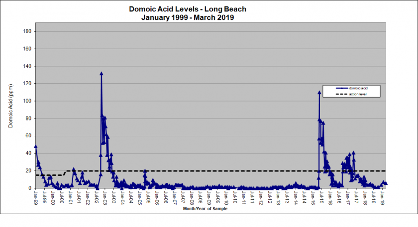 Graph showing domoic acid levels in Long Beach from January 1999 - March 2019