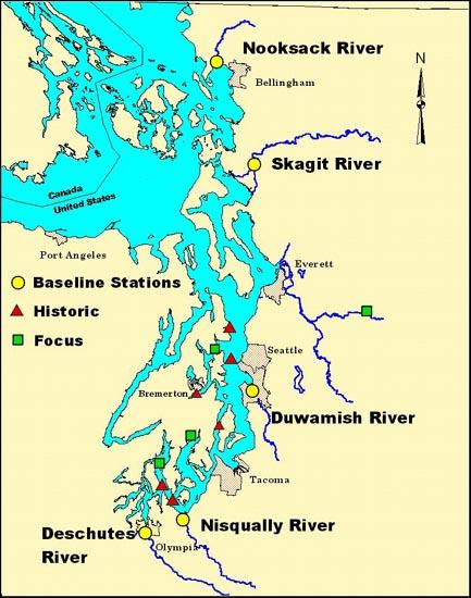 Map of Pacific salmon sampling locations