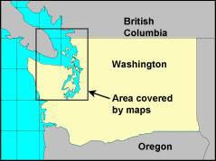 Statewide map of Washington showing marine toxin sampling areas in the Puget Sound