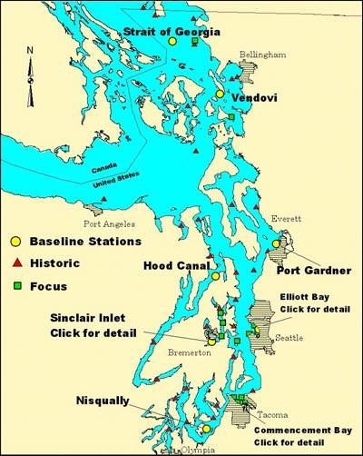 Map of English sole Puget Sound sampling locations