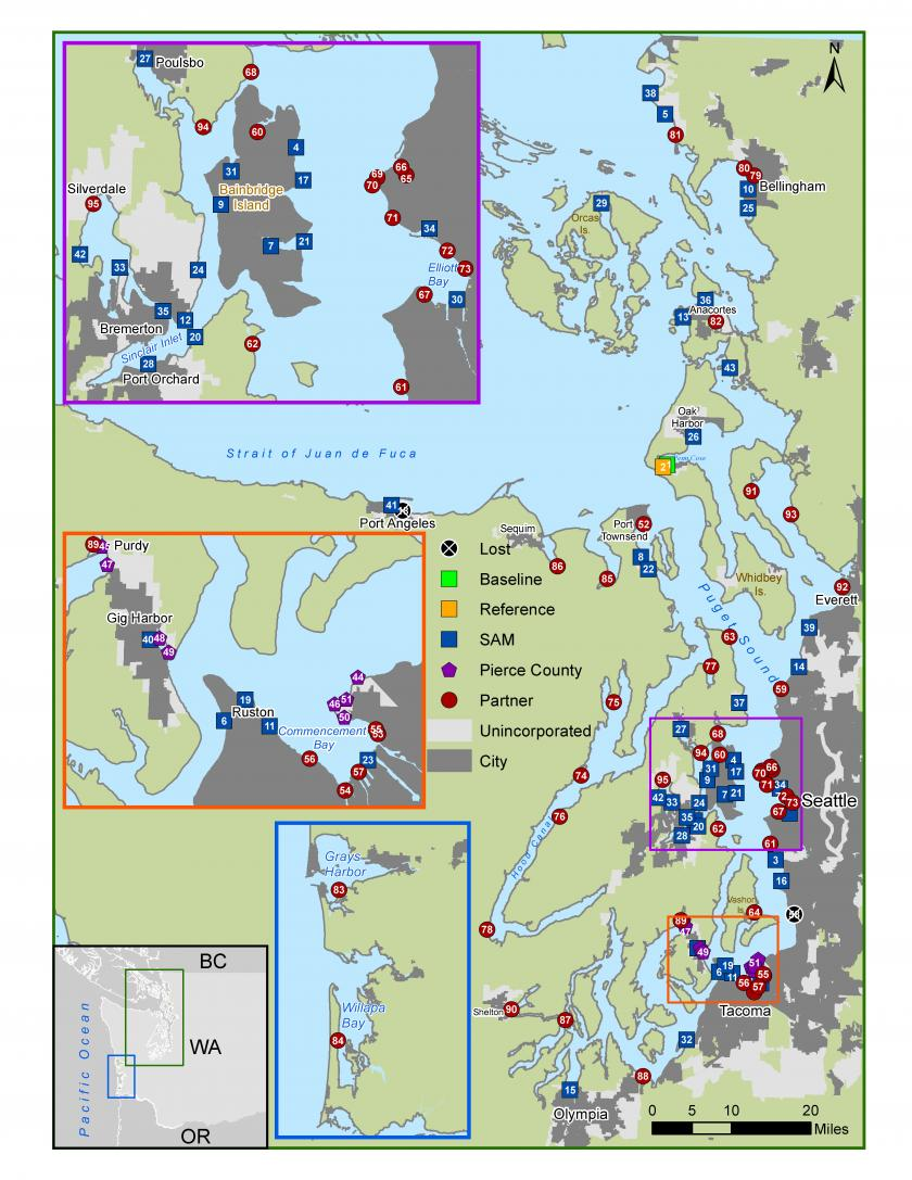 Map of toxics sampling location for mussels
