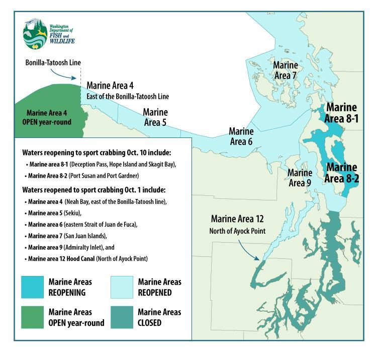 Winter Recreational Crabbing Open In Several Marine Areas Around Puget Sound Washington Department Of Fish Wildlife