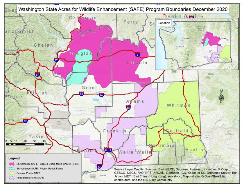 Map showing boundaries of Washington State Acres for Wildlife Enhancement Program
