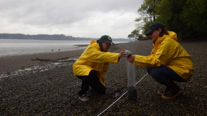 Photo of two researchers conducting a beach survey