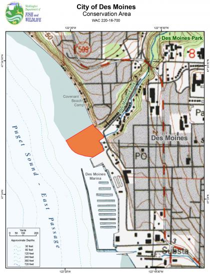 Map of the City of Des Moines Park Conservation Area
