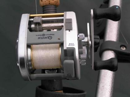 Closeup photo of a level wind reel with direct drive feature