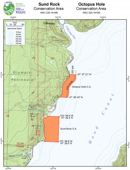Map of the Sund Rock and Octopus Hole Conservation Area