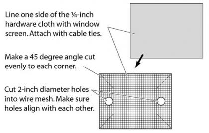 One-way tubes for chimneys. If bats are roosting inside a chimney, construct a wire cage from ¼-inch mesh hardware cloth.