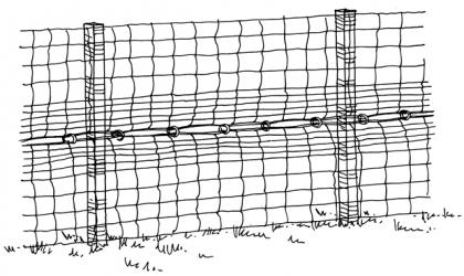 A drawing shows two lengths of fencing tied together with wire.