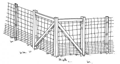 A drawing of a woven wire fence.