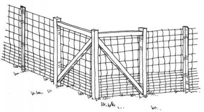Drawing showing how to construct a elk-proof fence