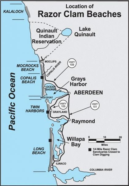 Map of razor clam beaches on Washington coast