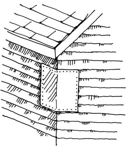 A drawing depicts flashing on the side of a house to prevent opossum entrance.
