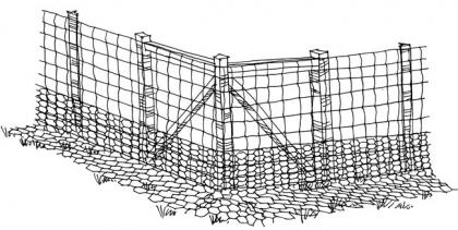 Chicken wire laid out at the foot of a fence can prevent digging under it.