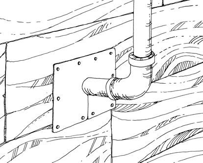A drawing shows how to install metal sheets around pipes to prevent rat entry.