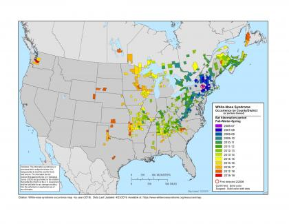 Map showing spread of white-nose syndrome in North America