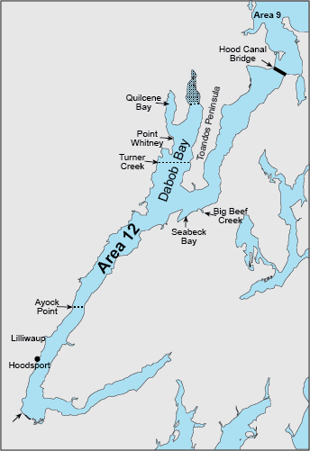 Map depicting boundaries of crab area 12 south of Ayock Point