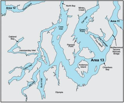 Map depicting the boundaries of marine area 13