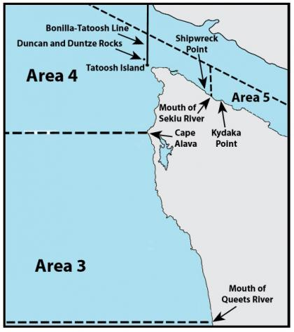 Map depicting the boundaries of marine areas 3 and 4
