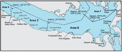 Map depicting the boundaries of marine areas 5 and 6