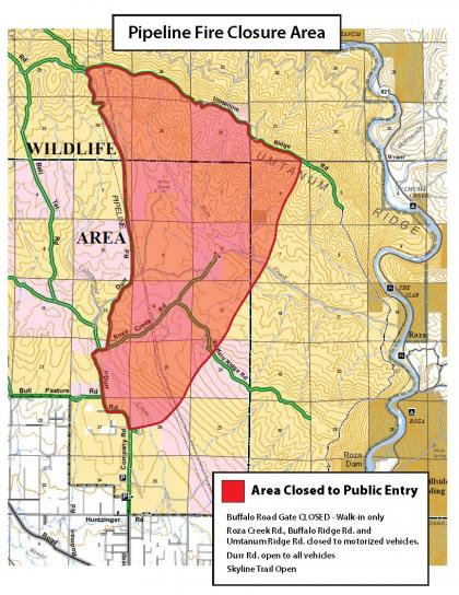Map of area close to the public due to wildfire