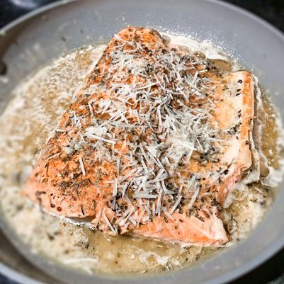 Photo of cajun salmon on skillet