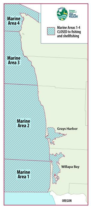Map of marine areas 1-4, closed due to COVID-19