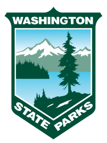 Logo with tree and mountain and lake