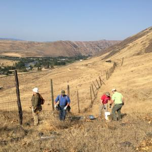 Several people working to remove a fence in the grasslands